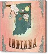 Modern Vintage Indiana State Map  Canvas Print