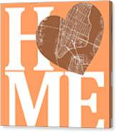 New York Map Home Heart - New York City New Yorkroad Map In A He Canvas Print