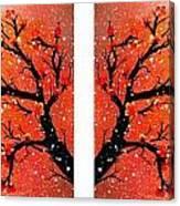 4-panel Snow On The Orange Cherry Blossom Trees Canvas Print
