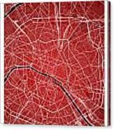 Paris Street Map - Paris France Road Map Art On Colored Backgrou Canvas Print