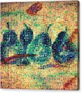 4 Pears Mosaic Canvas Print