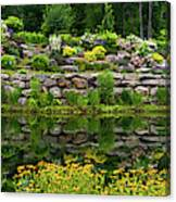 Rocks And Plants In Rock Garden Canvas Print