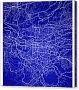 San Jose Street Map - San Jose Costa Rica Road Map Art On Colore Canvas Print