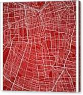 Santiago Street Map - Santiago Chile Road Map Art On Colored Bac Canvas Print