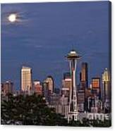 Seattle Skyline With Moonrise And Space Needle Canvas Print