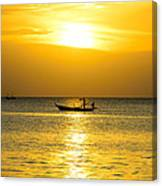 Silhouette Fisherman Are Taking Fishing Boat Canvas Print