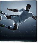 Soccer Player Kicking Ball In Stadium Canvas Print