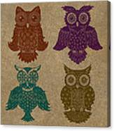 4 Sophisticated Owls Colored Canvas Print