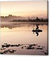 Sunrise In Fog Lake Cassidy With Fishermen In Small Fishing Boat Canvas Print
