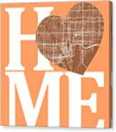 Tampa Street Map Home Heart - Tampa Florida Road Map In A Heart Canvas Print