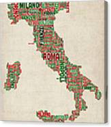 Text Map Of Italy Map Canvas Print