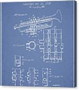 Trumpet Patent From 1939 - Light Blue Canvas Print