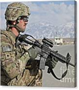 U.s. Army Specialist Provides Security Canvas Print
