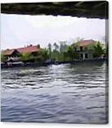 View Of Lake Resort Framed From The Top Of A Houseboat Canvas Print