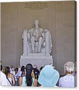 Visitors At The Lincoln Memorial Canvas Print