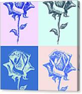 4 Warhol Roses By Punt Canvas Print