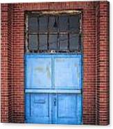 401 Blue Factory Door Canvas Print