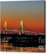 Arthur Ravenel Bridge Orange Glow Canvas Print