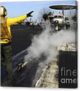 Aviation Boatswains Mate Directs An Canvas Print