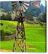 Painting San Simeon Pines Windmill Canvas Print