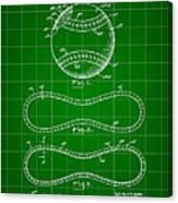 Baseball Patent 1927 - Green Canvas Print