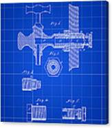 Beer Tap Patent 1876 - Blue Canvas Print