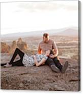 Engaged Couple At Smith Rock In Oregon Canvas Print