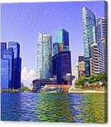 Financial District Of Singapore And View Of The Water In Singapore Canvas Print