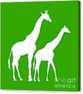 Giraffe In Green And White Canvas Print