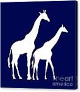 Giraffe In Navy And White Canvas Print