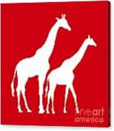 Giraffe In Red And White Canvas Print