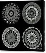 Kaleidoscope Ernst Haeckl Sea Life Series Black And White Set 2  Canvas Print