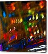 Moving Fast In The Town At Night  Canvas Print