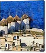 Mykonos Town Canvas Print