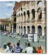 Outside Colosseum In Rome Canvas Print