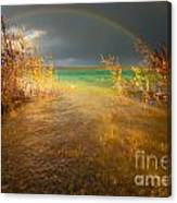 Rainbow And Dark Clouds Over Large Lake Canvas Print