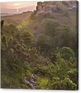 Romantic Fantasy Magical Castle Ruins Against Stunning Vibrant S Canvas Print
