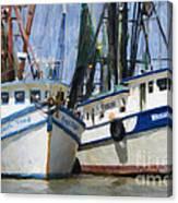 Shrimp Boats On The Creek Canvas Print