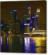 Singapore Skyline As Seen From The Pedestrian Bridge Canvas Print