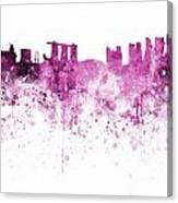 Singapore Skyline In Watercolour On White Background Canvas Print