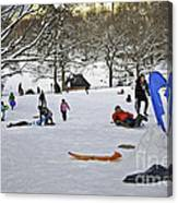 Snowboarding  In Central Park  2011 Canvas Print