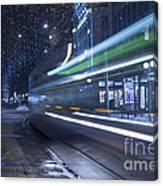 Tram At Night Canvas Print