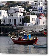 A Boat In The Harbor Of Mykonos Greece Canvas Print