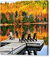 Wooden Dock On Autumn Lake Canvas Print