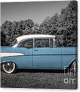 57 Chevy Black And White And Color Canvas Print