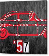 57 Chevy License Plate Art Canvas Print
