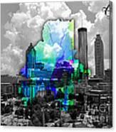 Atlanta Map And Skyline Watercolor Canvas Print