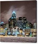 Charlotte Queen City Skyline Near Romare Bearden Park In Winter Snow Canvas Print