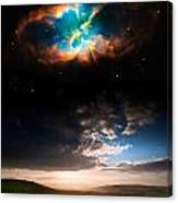 Countryside Sunset Landscape With Planets In Night Sky Elements  Canvas Print