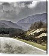Highway Running Through The Wilderness Of The Scottish Highlands Canvas Print